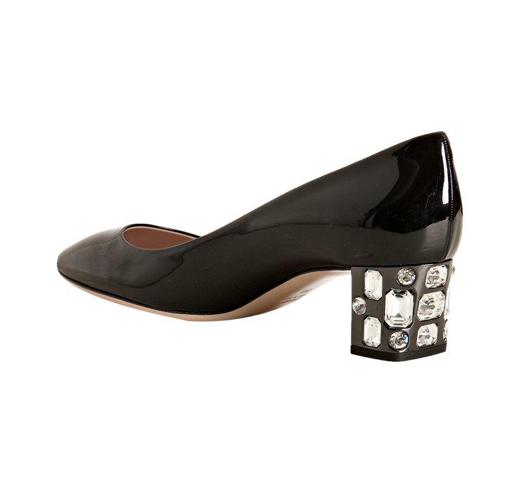 Lyst Miu Miu Black Patent Leather Jeweled Block Heel