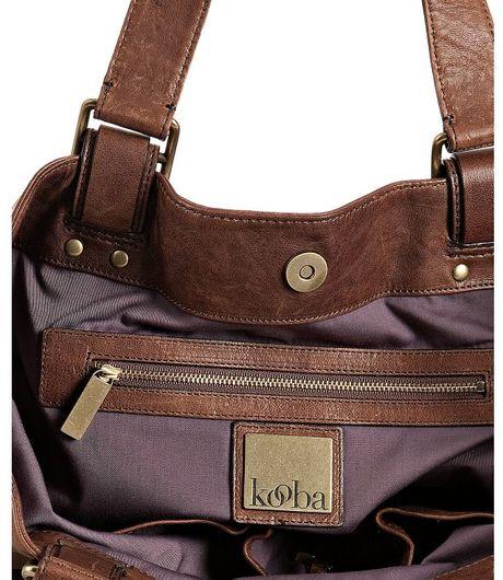 Kooba Brown Leather Meghan Woven Strap Detail Shoulder Bag