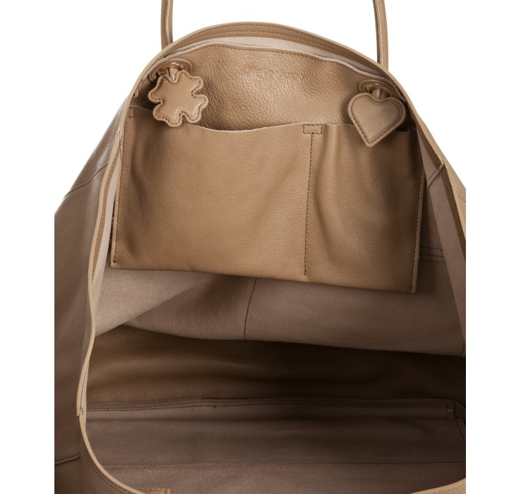 Saint laurent Beige Leather Lucky Chyc Tote in Brown (beige) | Lyst