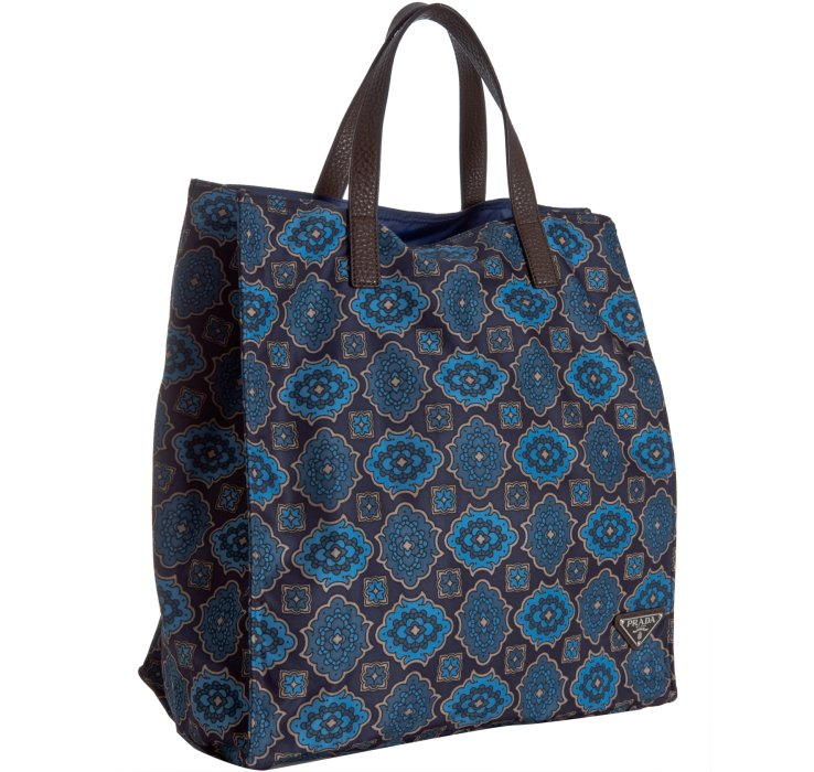 56b87afe47874a ... low price lyst prada blue floral tile print nylon shopping tote in blue  for men 88710