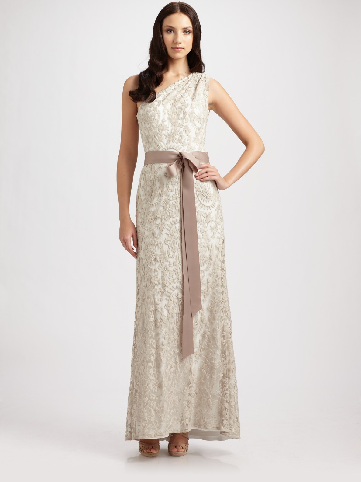 Lyst - Tadashi Shoji One Shoulder Embroidered Lace Gown in Natural