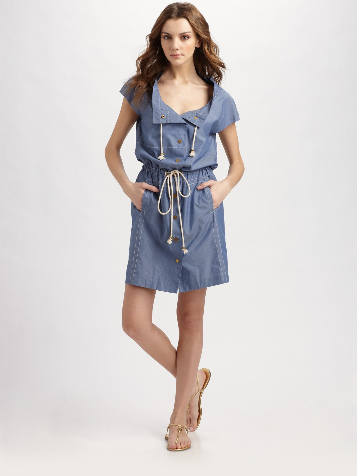 Lyst Tory Burch Pepper Summer Spring Chambray Dress In Blue