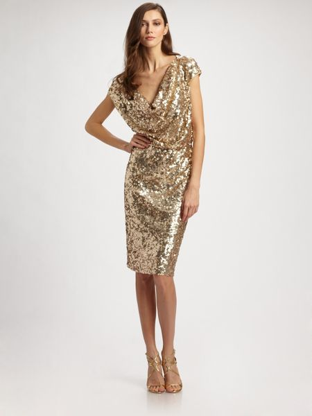 St John Sequined Tulle Cowl Neck Dress In Gold Lyst