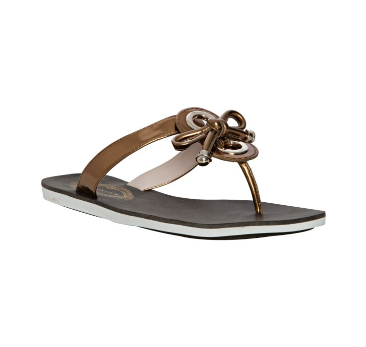 989cd07d95dfe Lyst - Elie Tahari Bronze Mirror Jordan Thong Sandals in Metallic