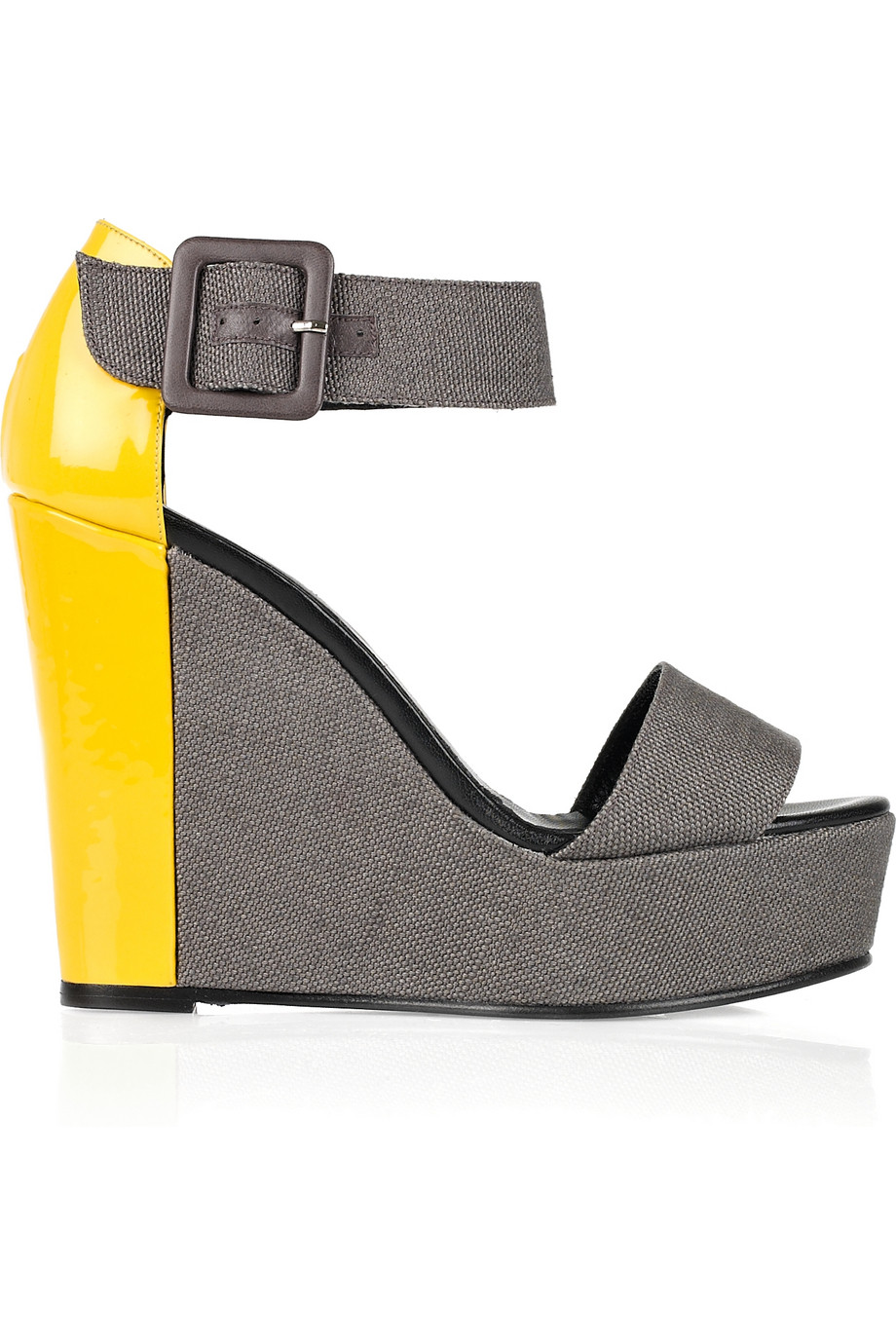 7ecbf7d3d045 Lyst - Pierre Hardy Color-block Canvas and Patent-leather Wedge ...