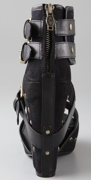 Ash Lyn Buckle Wedge Sandals In Black Lyst