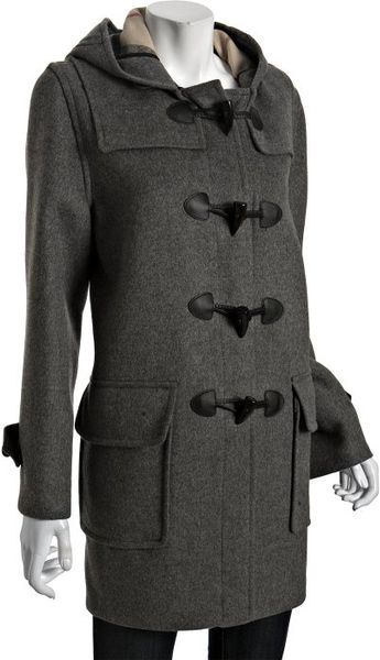 Burberry Grey Wool Toggle Front Hooded Coat In Gray Grey