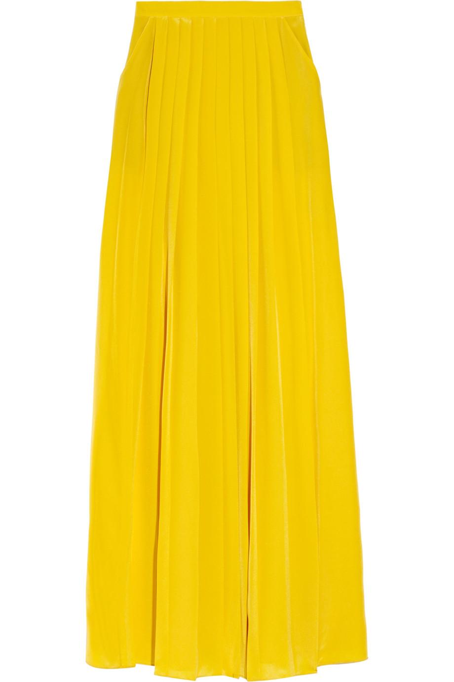 tibi pleated silk crepe de chine maxi skirt in yellow lyst