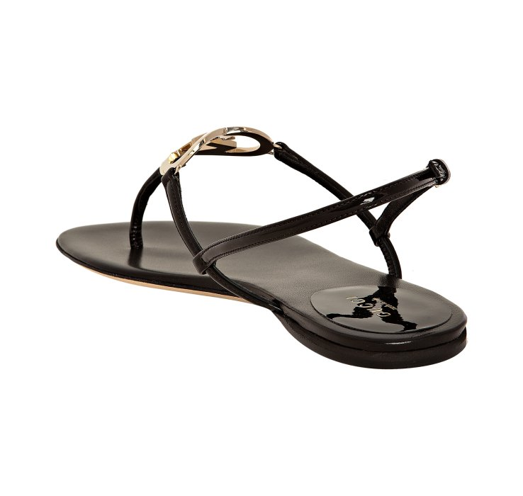 Gucci Black Patent Lovely Thong Flat Sandals In Black Lyst
