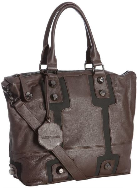 Vince Camuto Dark Brown Leather Vc Bolts Studded Tote in Brown