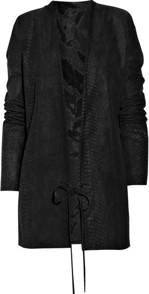 Acne Studios Cobra Snake Brushed-leather Coat in Animal (snake)