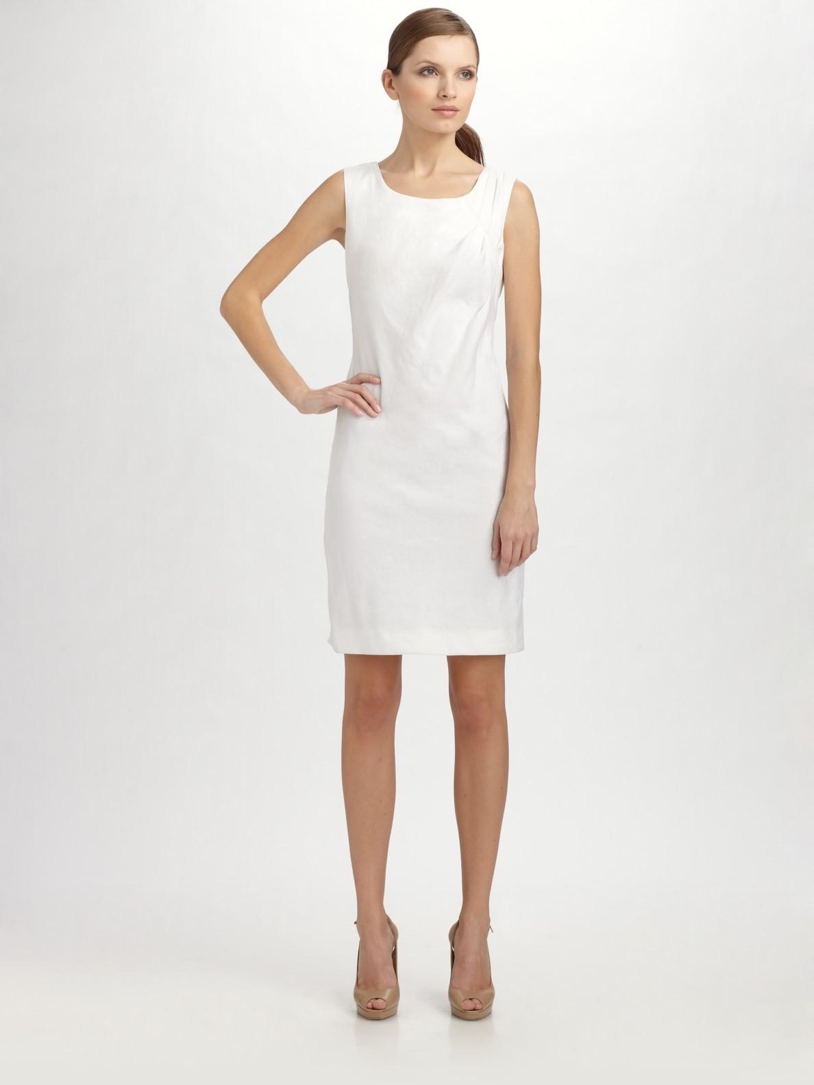 Dkny Stretch Spring Linen Tank Dress In White Lyst
