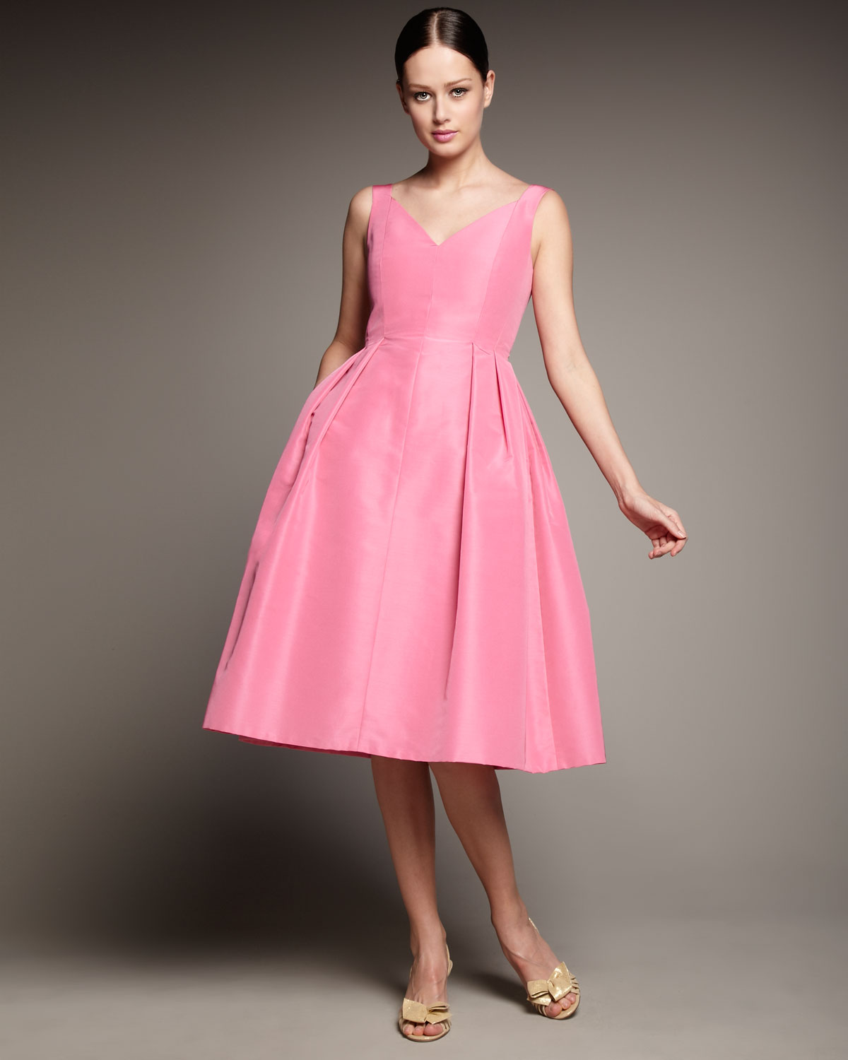 134fdf9abd Lyst - Redux Charles Chang-lima V-neck Full-skirt Dress in Pink