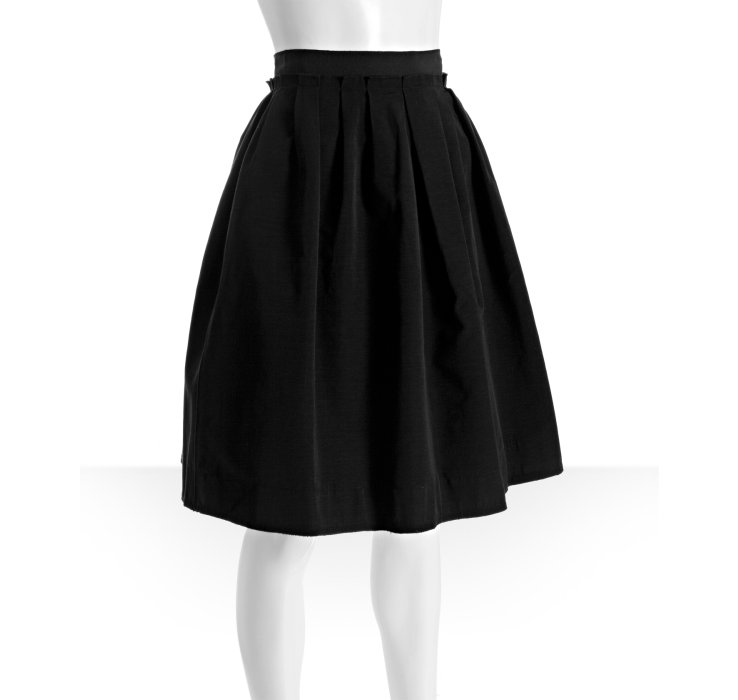 Dolce & gabbana Black Cotton Blend Pleated Knee Length Skirt in ...
