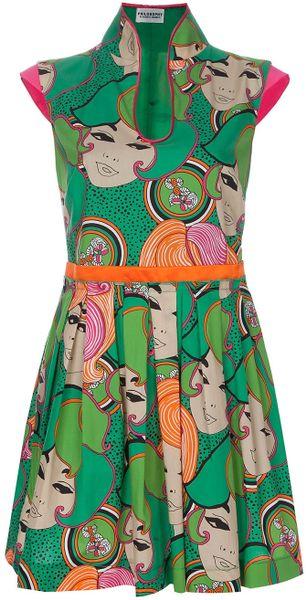 Philosophy Di Alberta Ferretti Face Print Dress in Green