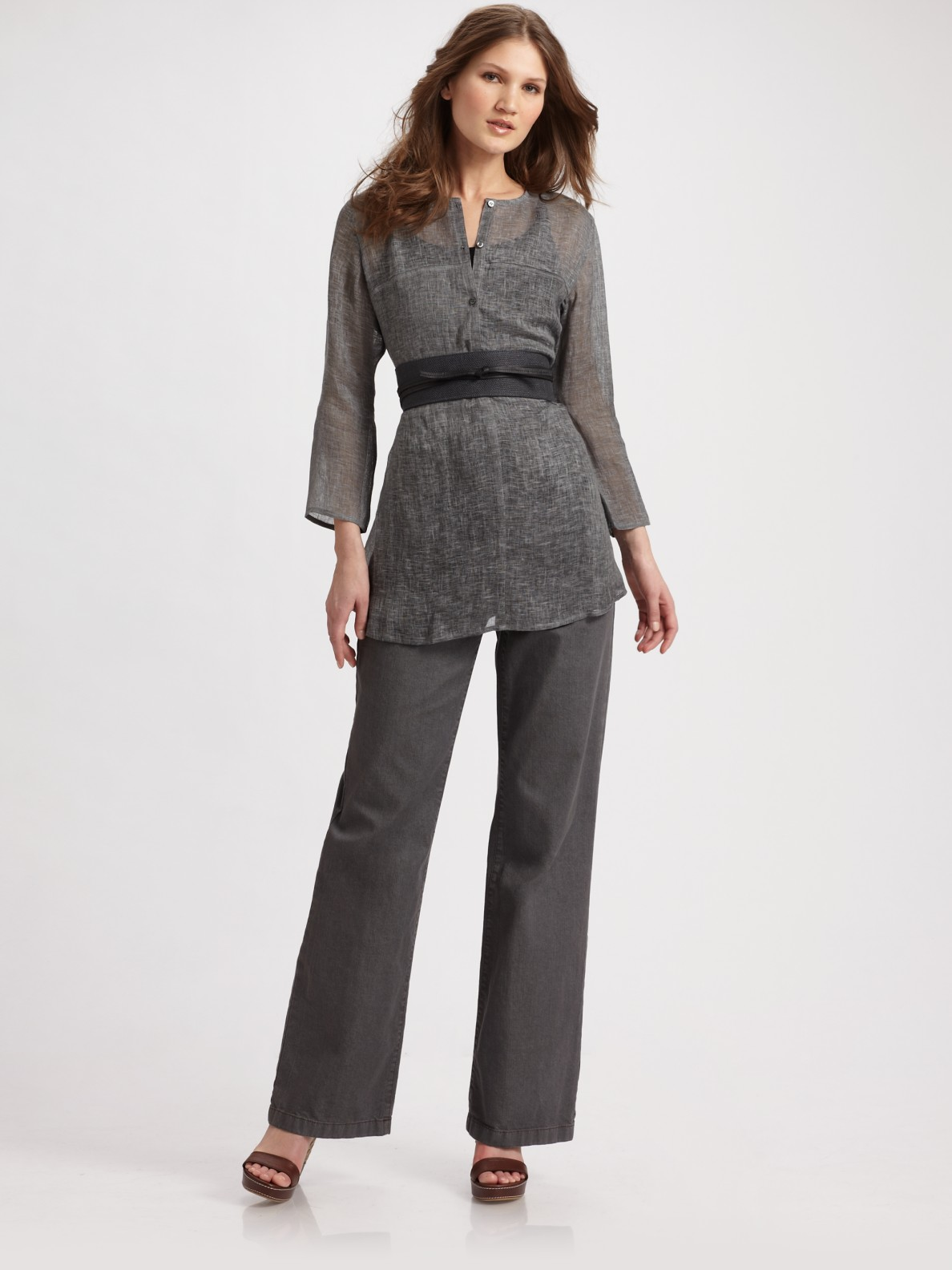 c8274329394 Eileen Fisher Tinted Linen Gauze Tunic in Black - Lyst