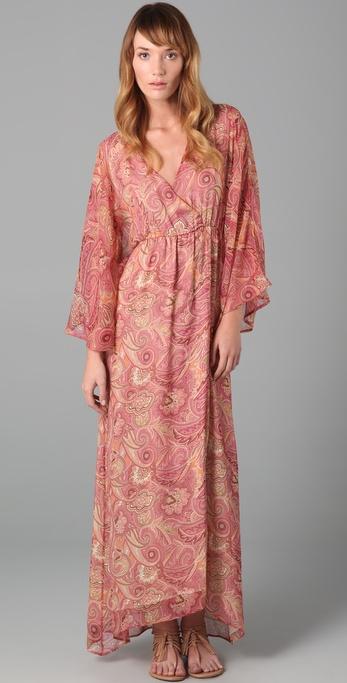 Alice   olivia Hayley Long Kimono Dress in Brown - Lyst
