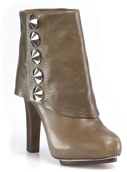 Be & D Langley Cuff Studded Booties in Green (Olive)