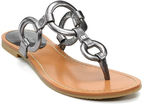 Calvin Klein Jacky Flat Sandals In Gold Lyst
