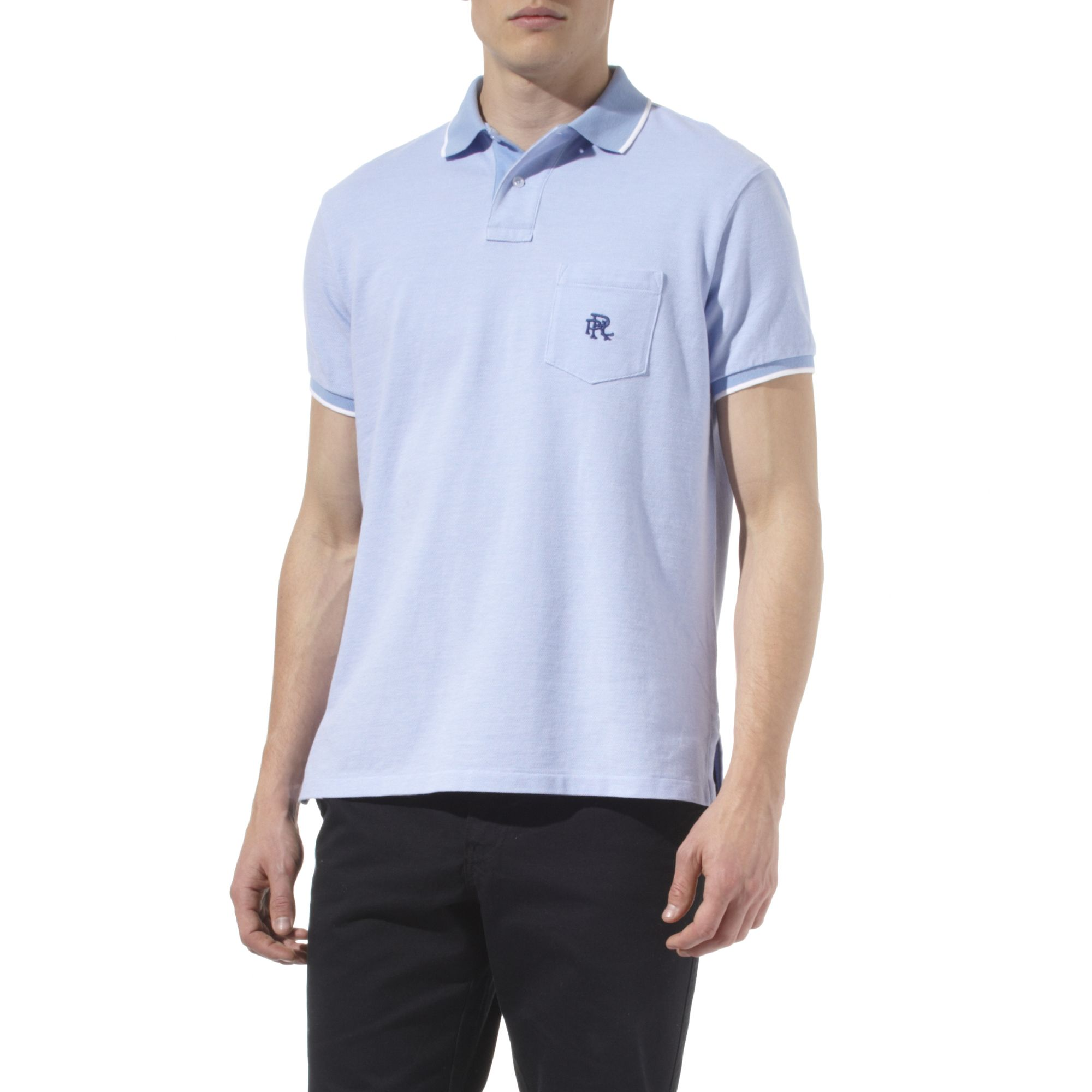 Ralph Lauren Custom Fit Embroidered Pocket Polo Shirt In