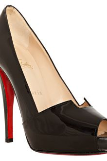 Christian Louboutin Black Patent Piquet Prive 120 Pumps - Lyst