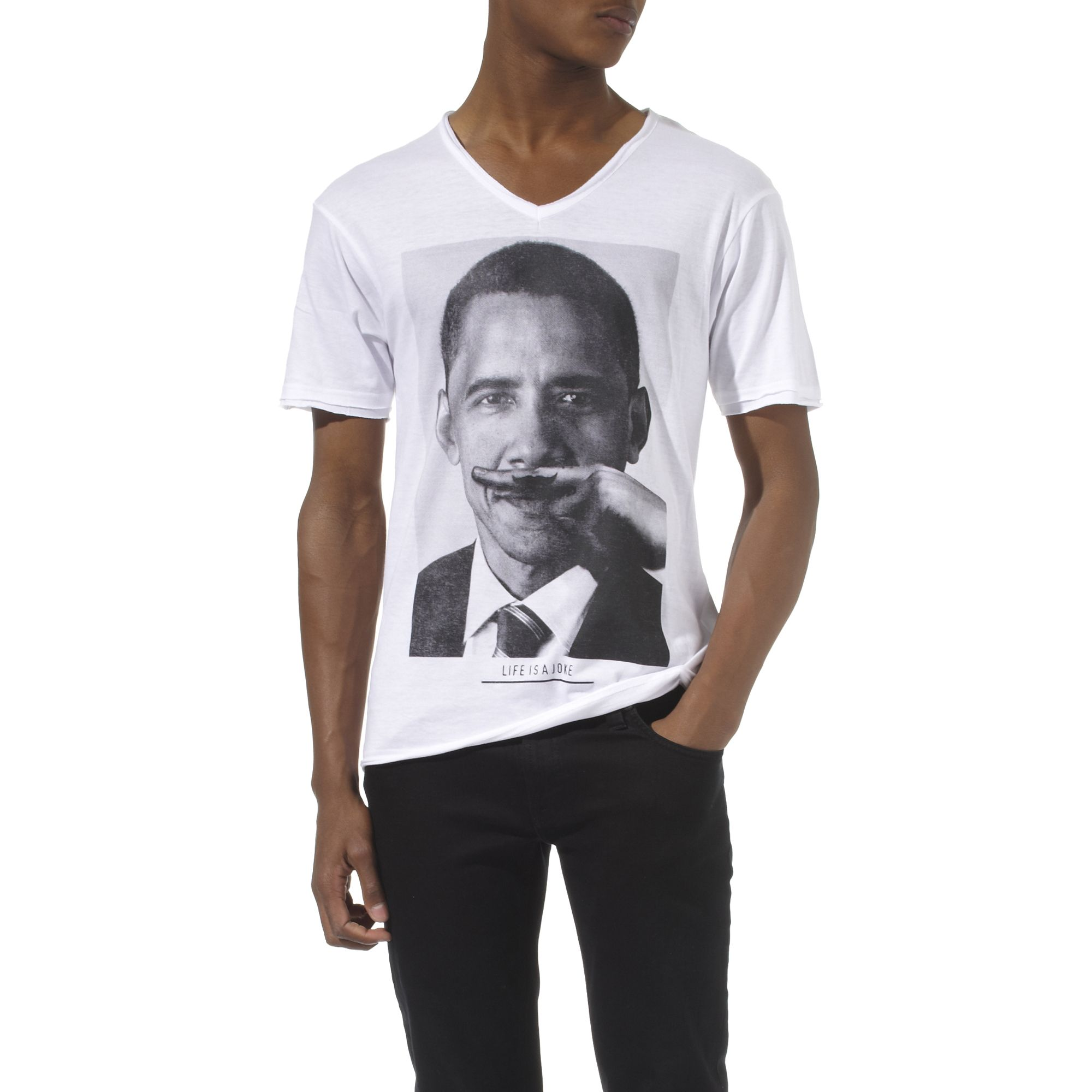 eleven paris obama moustache t shirt in white for men lyst. Black Bedroom Furniture Sets. Home Design Ideas