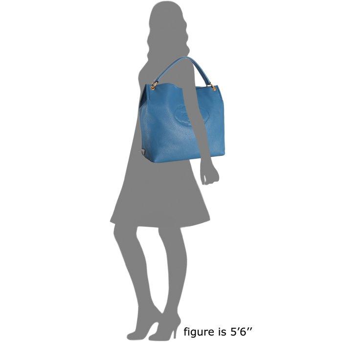 Prada Cobalt Leather Vitello Daino Logo Stamped Hobo in Blue ...