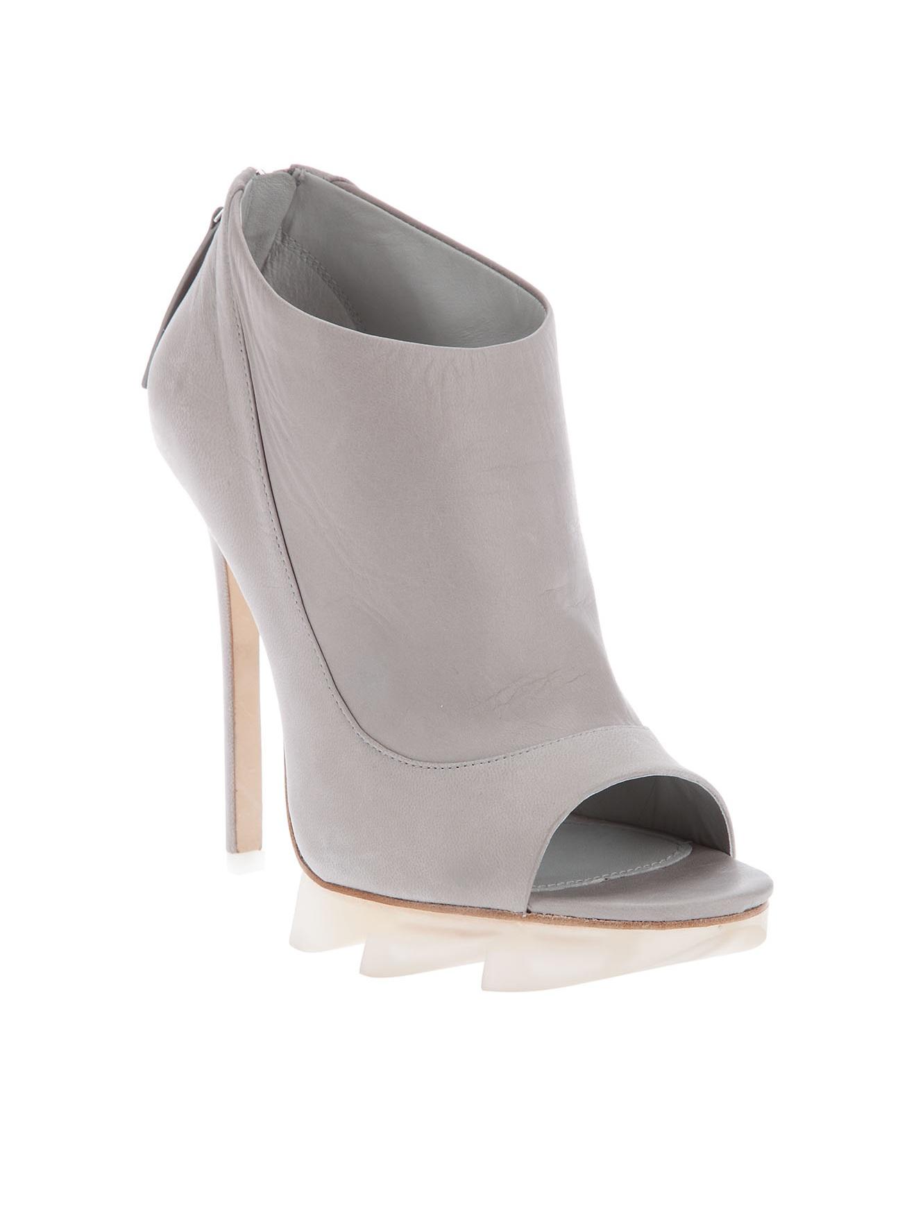 camilla skovgaard peep toe shoe boot in gray lyst