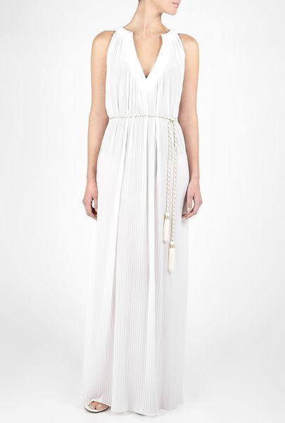 Diane Von Furstenberg White Calypso Long Plissé Kaftan in White