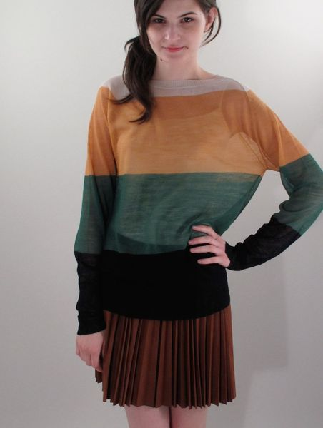 a l c leather pleated skirt in multicolor brown lyst