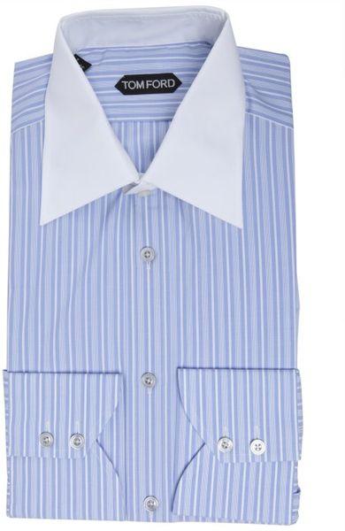 Tom Ford Sky Blue Bar Stripe Cotton Solid Collar Dress