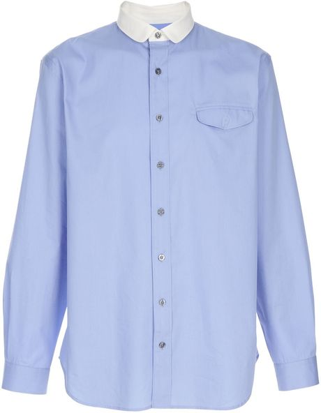 Paul smith round collar shirt in blue for men lyst for Round collar shirt men