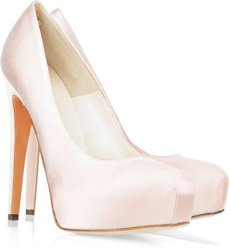Brian Atwood Maniac Silk-satin Platform Pumps in White (pearl)