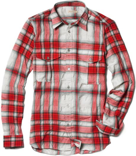 Burberry brit plaid flannel shirt in red for men lyst for Burberry brit plaid shirt