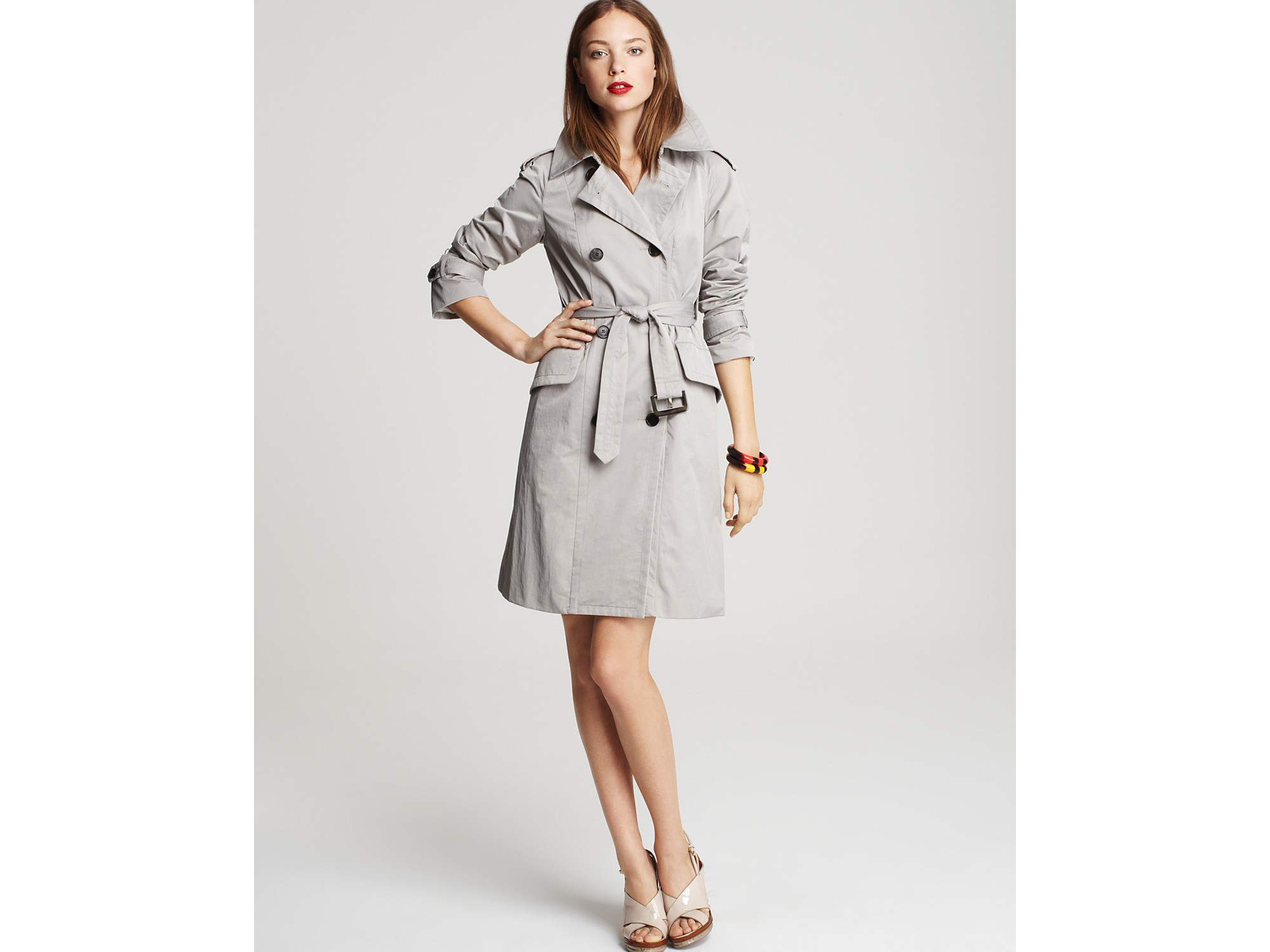 marc by marc jacobs juliette rain trench coat in gray. Black Bedroom Furniture Sets. Home Design Ideas
