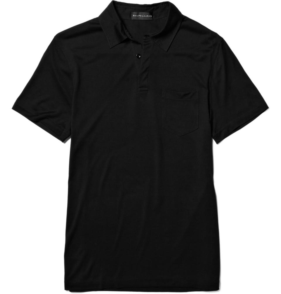 Ralph lauren black label silk polo shirt in black for men for Ralph lauren black label polo shirt