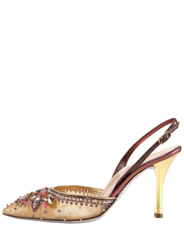 Jeweled Mid Heel Shoes