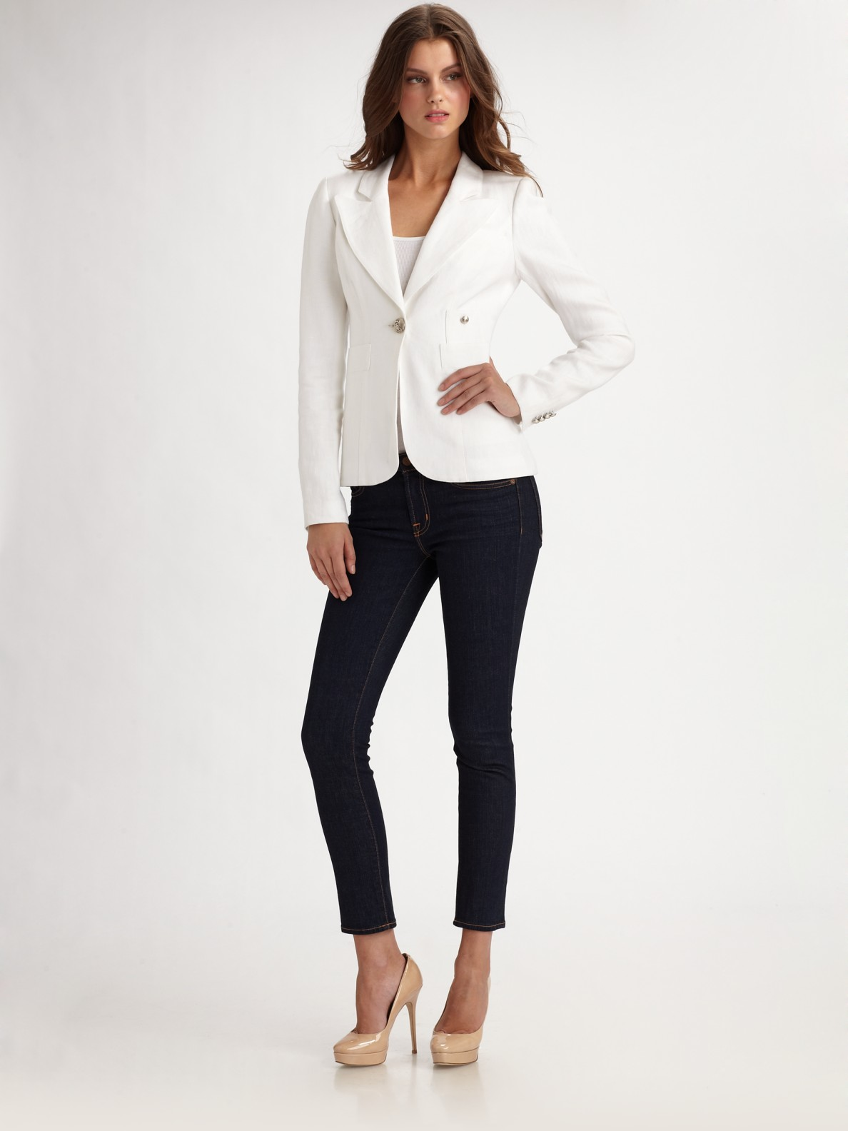 Smythe One Button Fitted Blazer In White Lyst