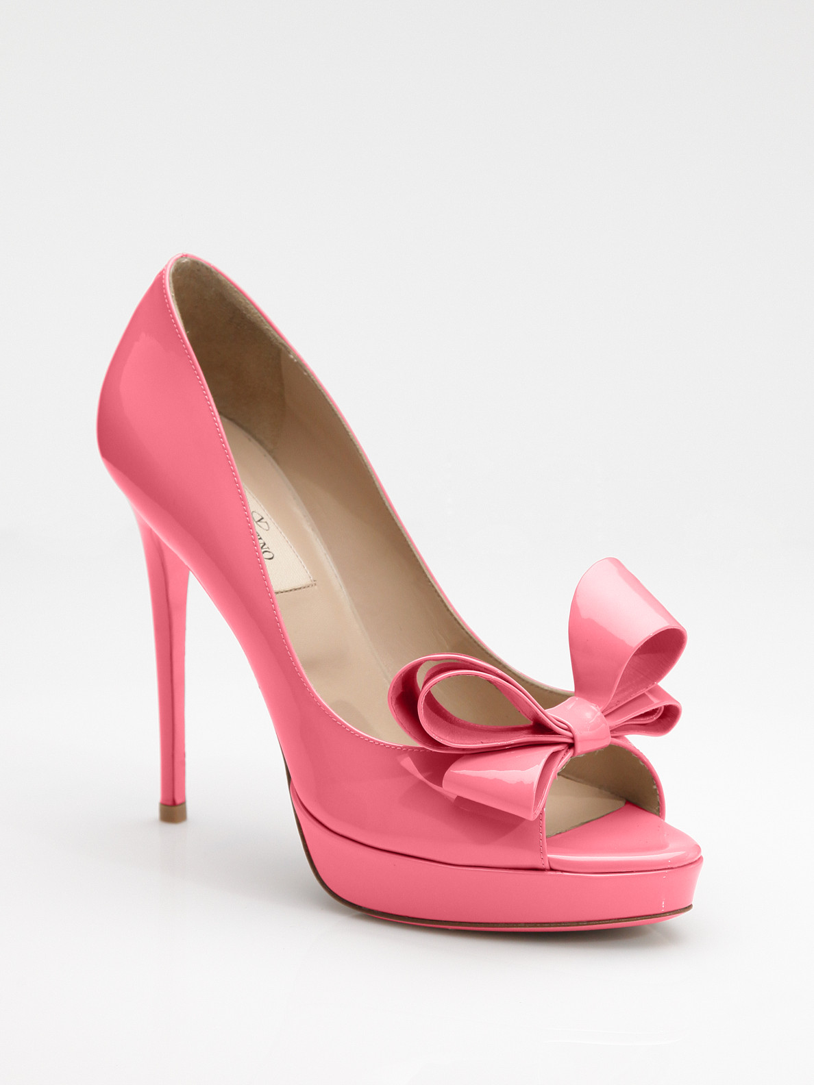 Lyst Valentino Couture Patent Leather Peeptoe Pumps In Pink