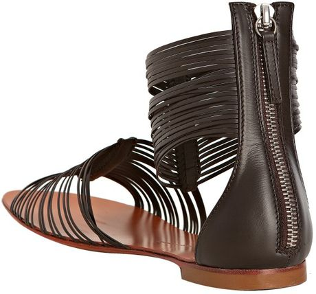 Giuseppe Zanotti Dark Brown Leather Ankle Strap Flat