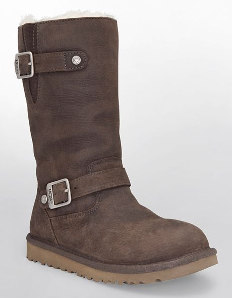 ugg kensington buckled leather boots in brown brown