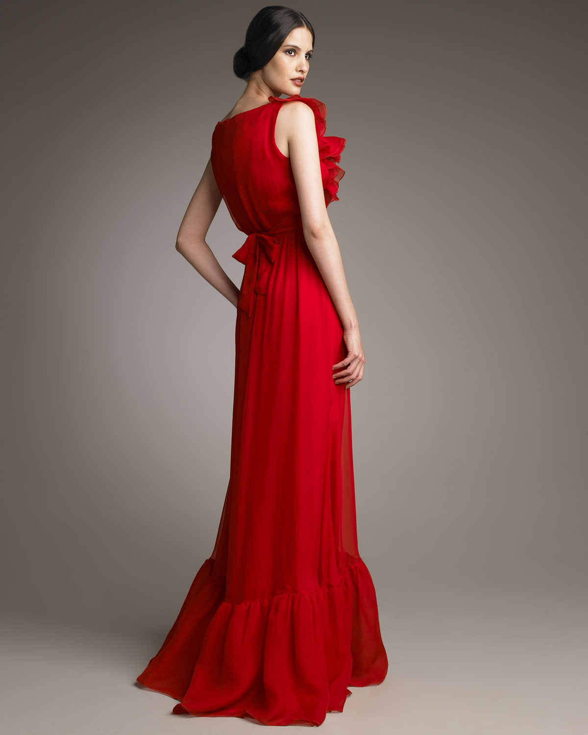 Valentino Bow-waist Voulant Gown in Red | Lyst