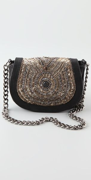 Antik Batik Aragon Embellished Leather Shoulder Bag in Black (aragon)