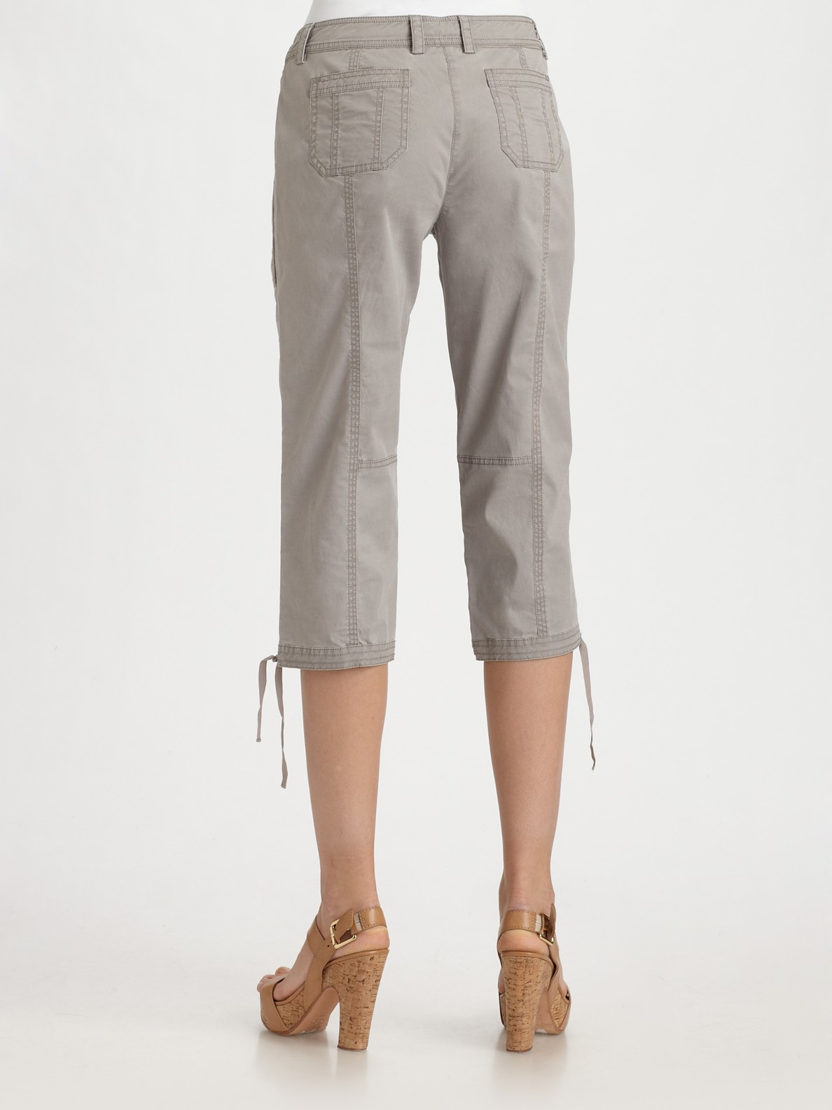 Eileen fisher Twill Cropped Cargo Pants in Gray | Lyst