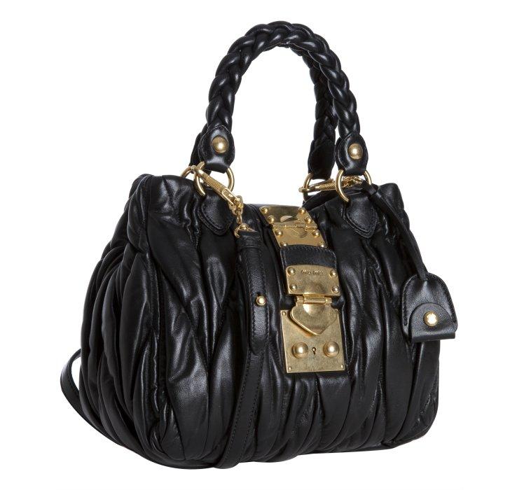 622c95dd67ba Miu miu Black Ruched Leather Matelasse Top Handle Bag in Black