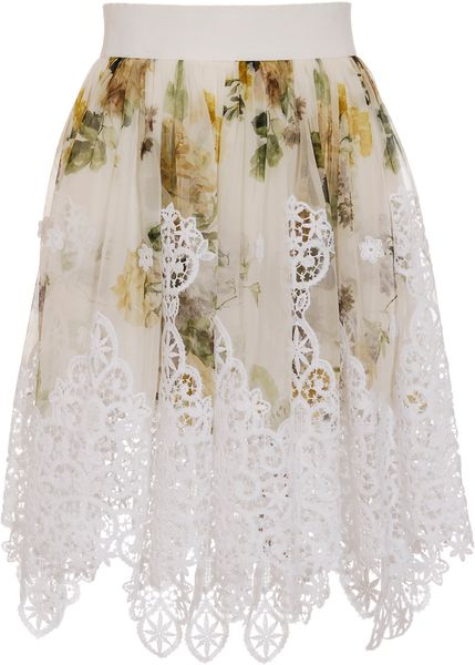 Dolce & Gabbana Printed Silk Mini-skirt with Macramé Lace Details in Green - Lyst