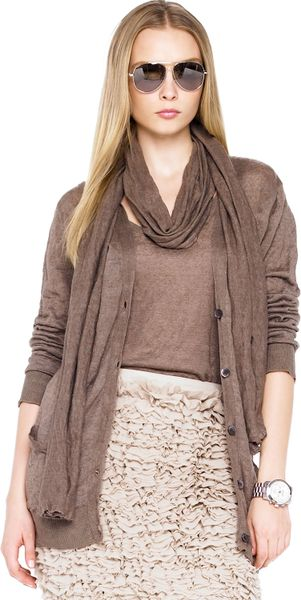Michael Kors Michael Skinny Scarf Long Boyfriend Cardigan Ruffle Skirt in Brown