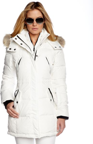 Michael kors michael coyote trim puffer coat in white