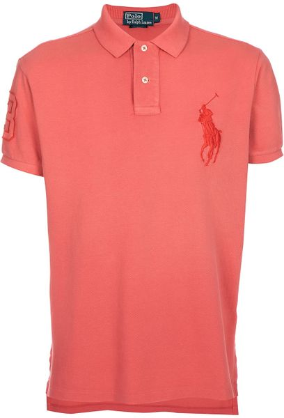 Ralph lauren polo shirt in pink for men coral lyst for Coral shirts for guys