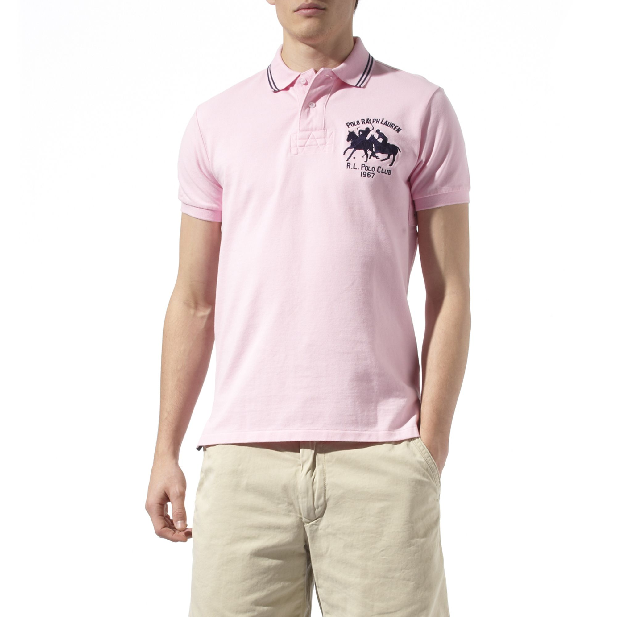 Ralph lauren Custom\u2013fit Tipped Dual Match Polo Shirt in Pink for Men | Lyst